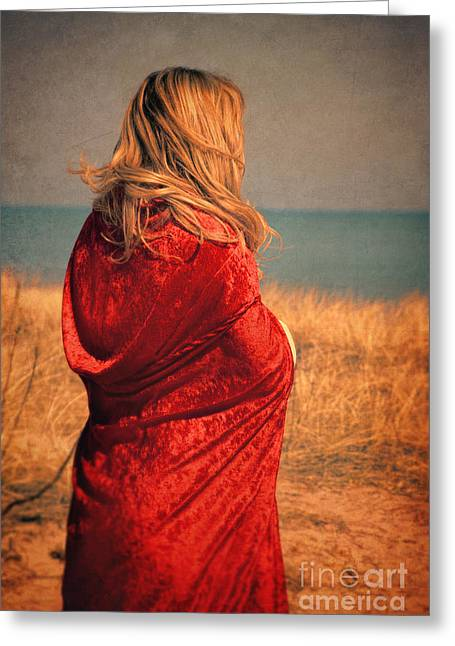 Young Lady Greeting Cards - Young woman by the sea. Greeting Card by Jill Battaglia