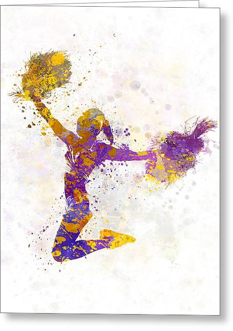 Cheerleader   Greeting Cards - Young Woman Cheerleader 03 Greeting Card by Pablo Romero