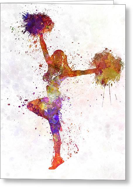 Cheerleader   Greeting Cards - Young Woman Cheerleader 06 Greeting Card by Pablo Romero