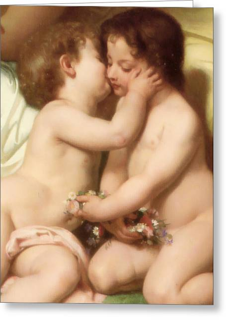 Young Woman Contemplating Two Embracing Children Detail II Greeting Card by William Bouguereau
