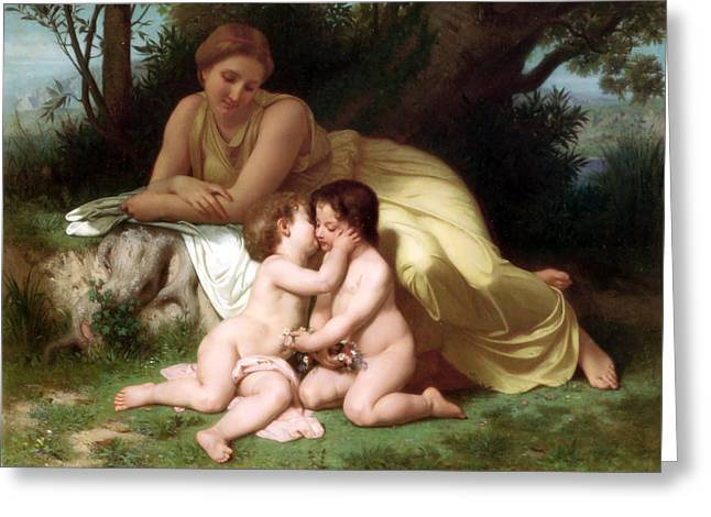 Young Woman Contemplating Two Embracing Children Greeting Card by Munir Alawi