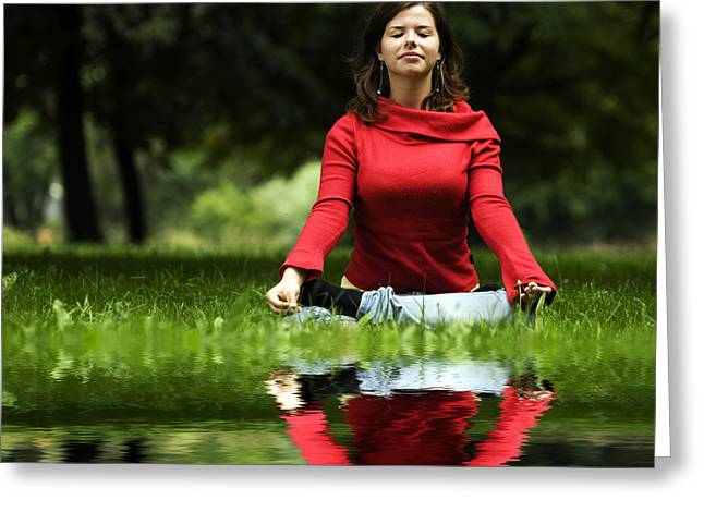 Wellbeing Greeting Cards - Young woman doing yoga Greeting Card by Michal Bednarek