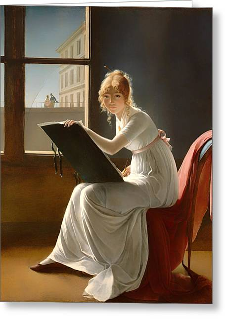 Portaits Greeting Cards - Young Woman Drawing - 1801 Greeting Card by Marie-Denise Villers