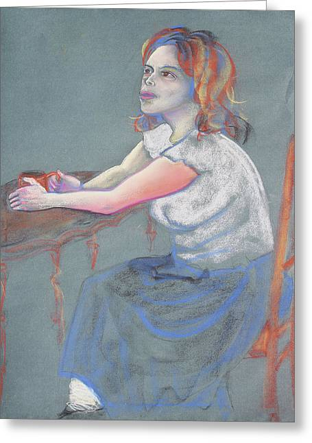 Portrait With Red Chair Greeting Cards - Young Woman Dreaming and Yearning with a Cup of Coffee Greeting Card by Asha Carolyn Young