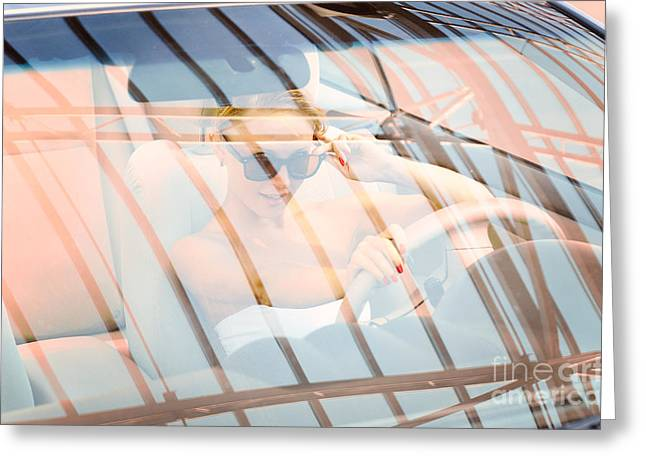 Leasing Greeting Cards - Young woman driving a car Greeting Card by Nikita Buida