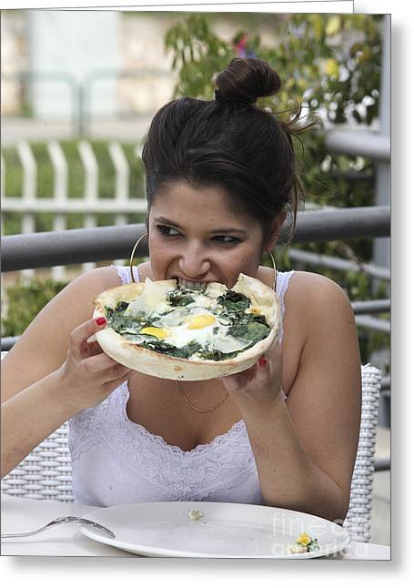 Satisfaction Greeting Cards - Young woman eating   Greeting Card by Oren Shalev