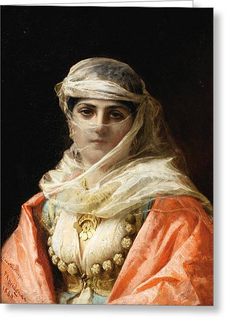 Frederick Greeting Cards - Young Woman from Constantinople Greeting Card by Frederick Arthur Bridgman