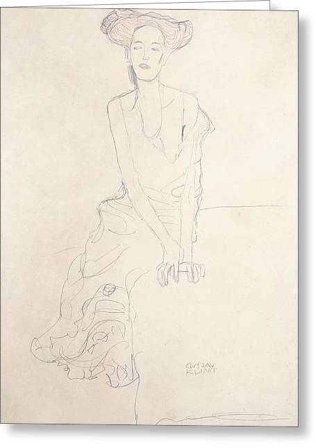 Thin Drawings Greeting Cards - Young Woman Greeting Card by Gustav Klimt
