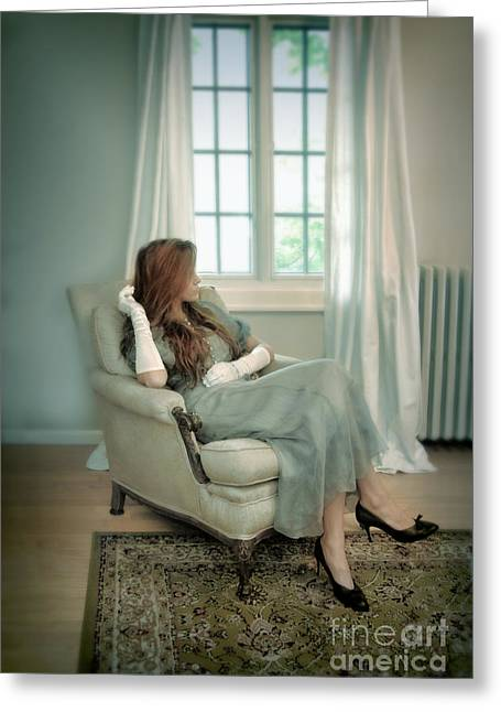 Young Woman In A Chair Greeting Card by Jill Battaglia