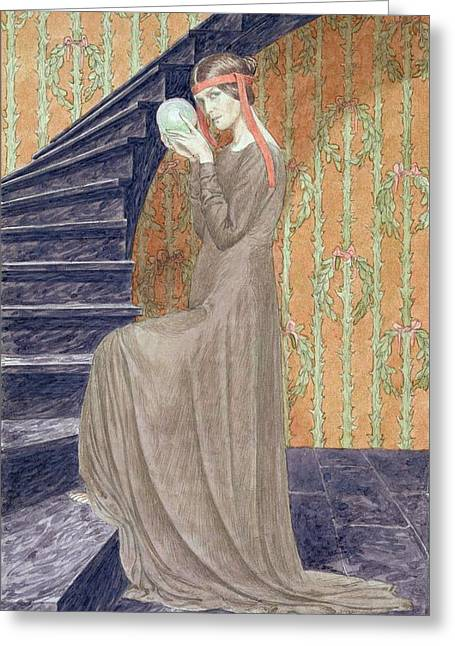 Victorian Costume Greeting Cards - Young Woman In Aesthetic Style Dress Greeting Card by Carlos Schwabe