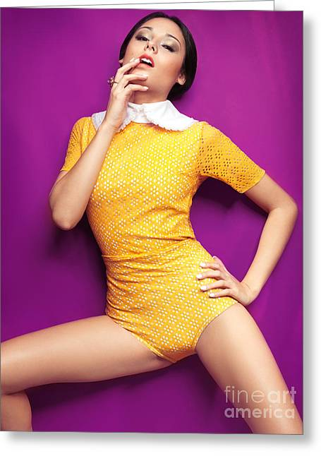 High Colour Vivid Color Greeting Cards - Young woman in bright yellow vintage style clothes Greeting Card by Oleksiy Maksymenko