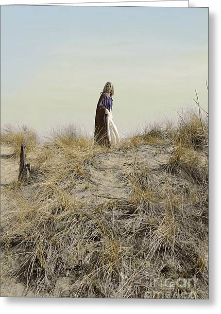 Young Lady Greeting Cards - Young Woman in Cloak on a Hill Greeting Card by Jill Battaglia
