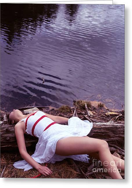 Young Adult Women Greeting Cards - Young woman in dress and bondage rope lying near water Greeting Card by Oleksiy Maksymenko