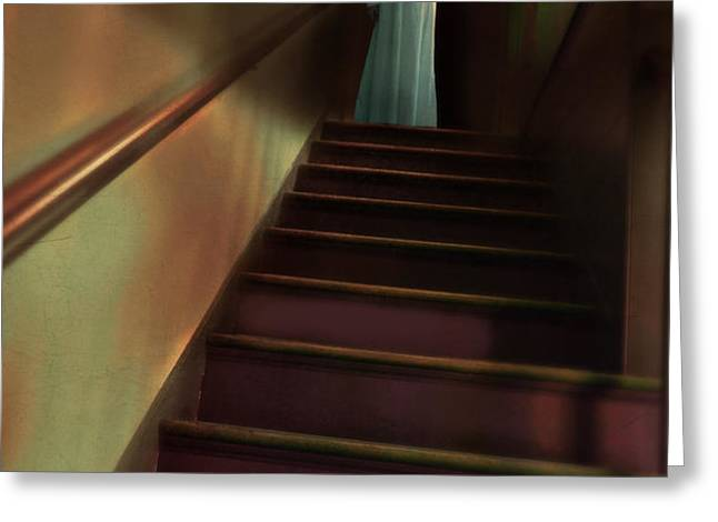 Young Woman in Nightgown on Stairs Greeting Card by Jill Battaglia