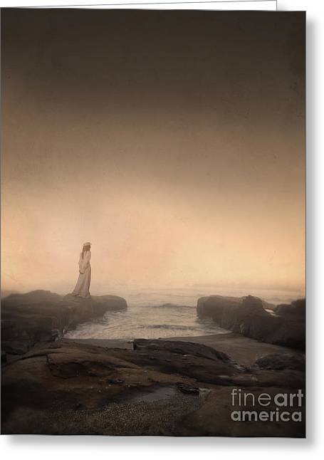Fogg Greeting Cards - Young Woman in Vintage Dress by the Sea Greeting Card by Jill Battaglia