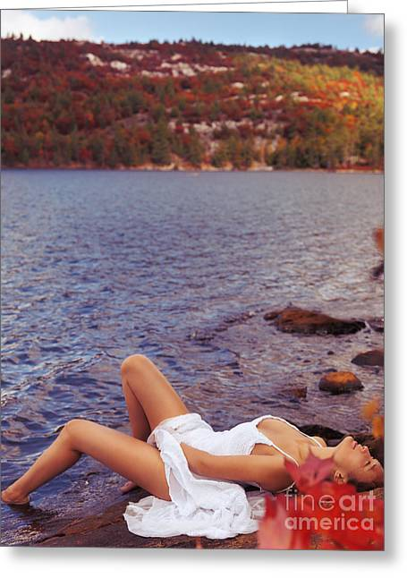 Self View Greeting Cards - Young woman in white dress lying on lake shore Greeting Card by Oleksiy Maksymenko