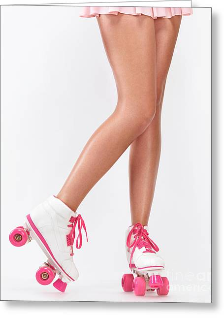Roller Derby Greeting Cards - Young woman long legs in pink roller skates Greeting Card by Oleksiy Maksymenko