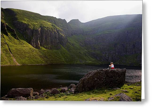 Feeling Young Greeting Cards - Young Woman Meditating, Coumshingaun Greeting Card by Panoramic Images