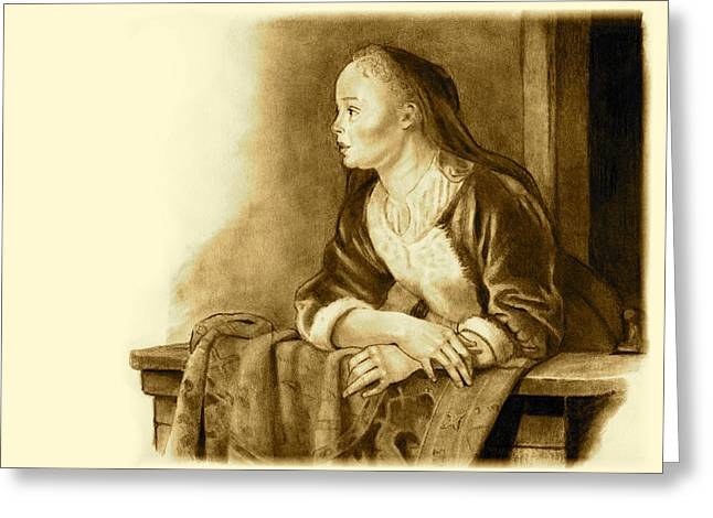 Old Masters Drawings Greeting Cards - Young Woman On A Balcony Sepia Greeting Card by Joyce Geleynse