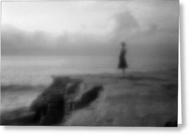 Alone Photographs Greeting Cards - Young Woman on Cliff in Early Morning Greeting Card by Colin and Linda McKie