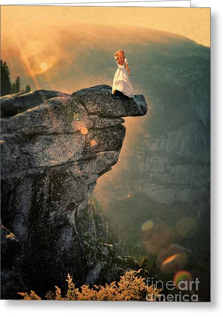 Ledge Photographs Greeting Cards - Young Woman on Rocky Ledge Greeting Card by Jill Battaglia
