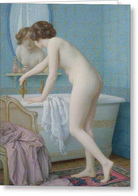 Bath Greeting Cards - Young Woman Preparing her Bath  Greeting Card by Jules Scalbert
