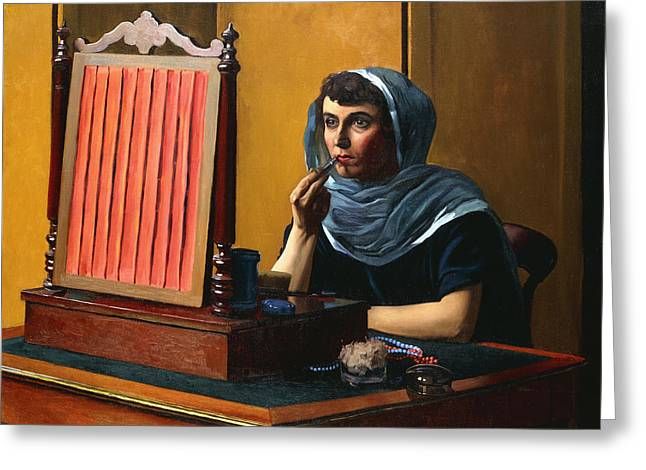 Apparel Greeting Cards - Young Woman Putting on Lipstick Greeting Card by Felix Edouard Vallotton
