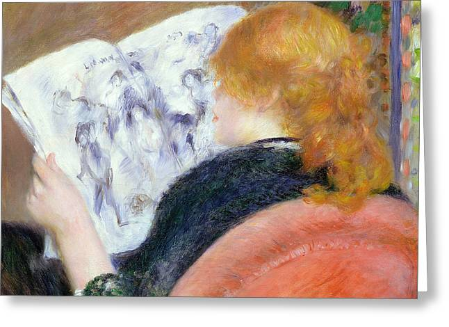 Young Woman Reading An Illustrated Journal Greeting Card by Pierre Auguste Renoir