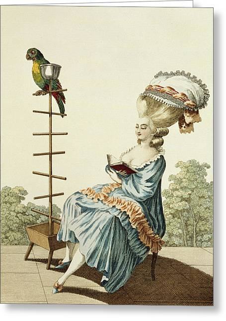 Humourous Greeting Cards - Young Woman Reading In A Day Dress Greeting Card by Claude Louis Desrais