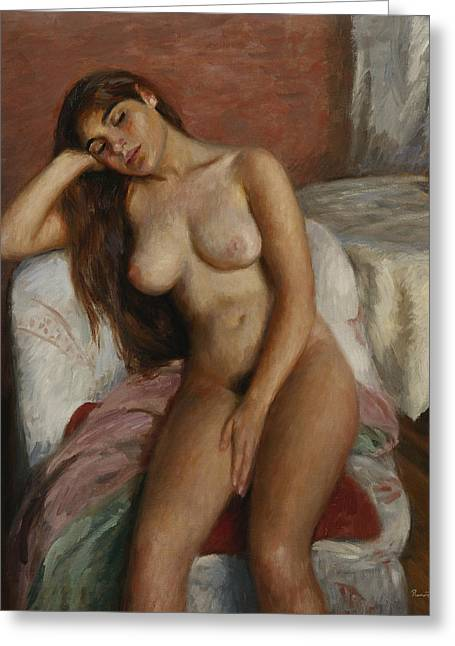 Woman Napping Greeting Cards - Young Woman Relaxing Greeting Card by Ramon Pichot Girones