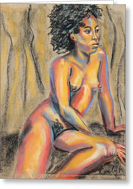 Lounging Pastels Greeting Cards - Young Woman Resting and Contemplating Greeting Card by Asha Carolyn Young