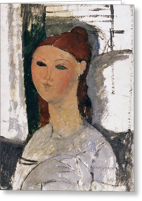 Redhead Greeting Cards - Young Woman, Seated, C.1915 Greeting Card by Amedeo Modigliani