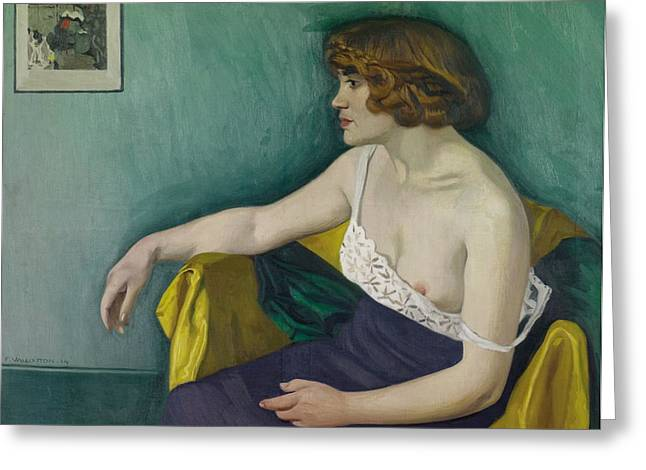 Nightdress Greeting Cards - Young woman seated in profile Greeting Card by Felix Edouard Vallotton