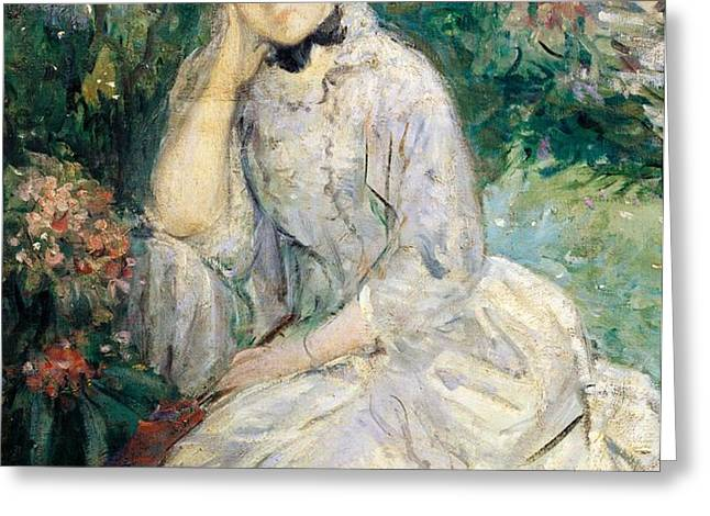 Young Woman Seated on a Sofa Greeting Card by Berthe Morisot