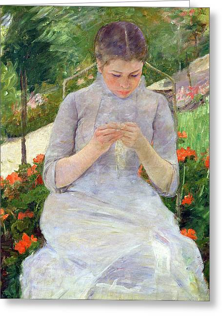 In The Shade Greeting Cards - Young Woman Sewing in the garden Greeting Card by Mary Stevenson Cassatt