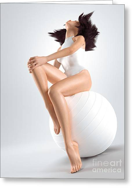 Swimwear Greeting Cards - Young woman sitting on white exercise ball Greeting Card by Oleksiy Maksymenko