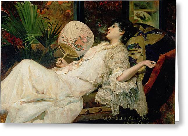 Jeunes Filles Greeting Cards - Young Woman Smoking, 1894 Oil On Canvas Greeting Card by Francisco Masriera y Manovens