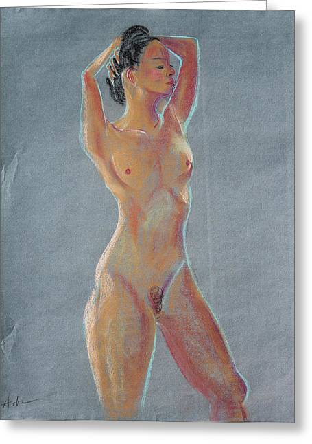 Artistic Nude Framed Prints Greeting Cards - Young Woman Standing with Her Hands Behind Her Head Greeting Card by Asha Carolyn Young