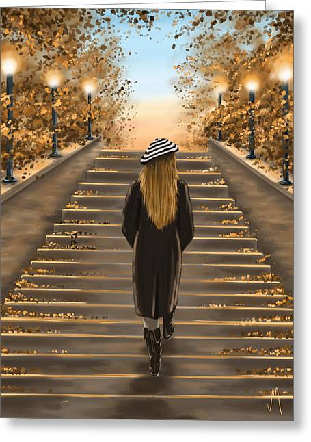 Park Digital Art Greeting Cards - Young woman Greeting Card by Veronica Minozzi