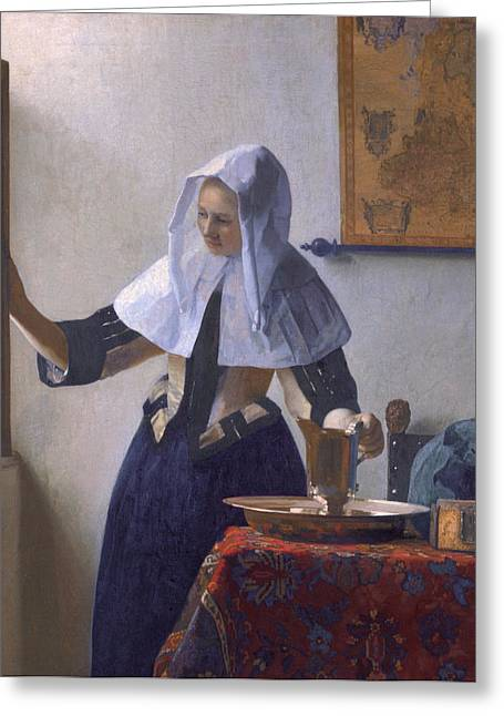 Water Pitcher Greeting Cards - Young Woman With a Water Pitcher Greeting Card by Johanes Vermeer