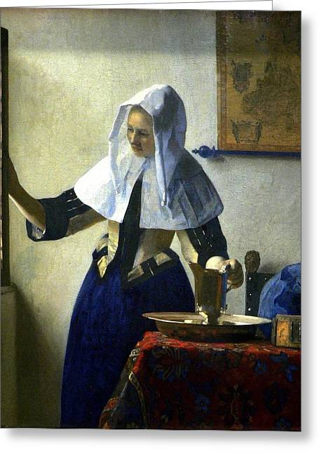 Old Pitcher Paintings Greeting Cards - Young Woman With A Water Pitcher Greeting Card by Johannes Vermeer