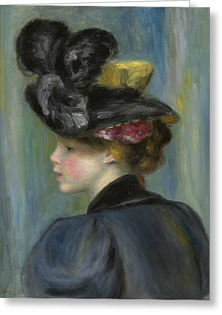 Renoir Greeting Cards - Young Woman with Black Hat Greeting Card by Pierre Auguste Renoir