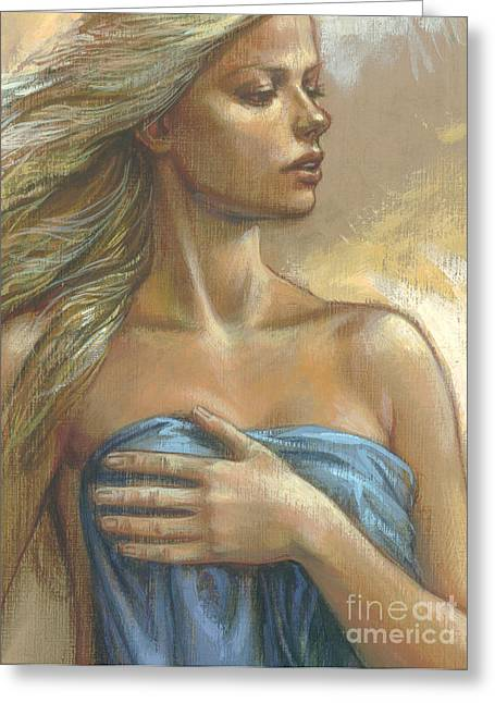 Blonde Greeting Cards - Young Woman with Blue Drape crop Greeting Card by Zorina Baldescu