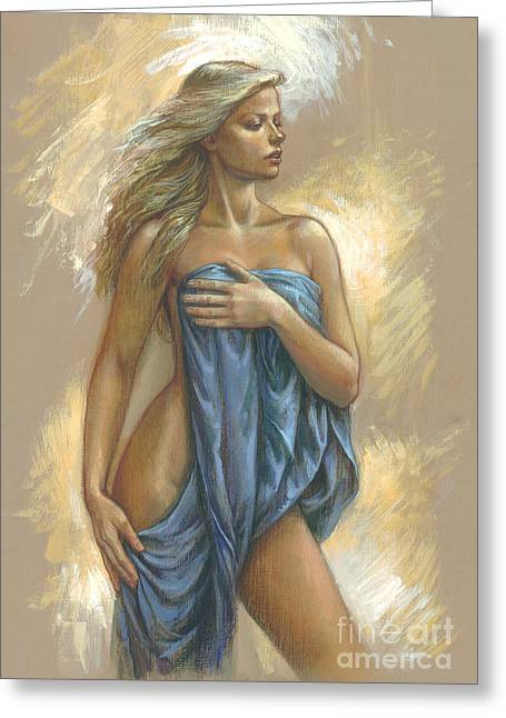 Blonde Greeting Cards - Young Woman With Blue Drape Greeting Card by Zorina Baldescu