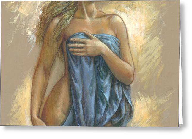 Young Woman With Blue Drape Greeting Card by Zorina Baldescu