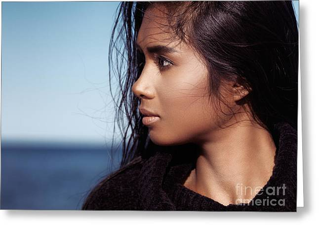 Mix Races Greeting Cards - Young woman with dark hair portrait at the beach Greeting Card by Oleksiy Maksymenko