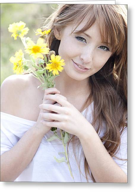 Youthful Photographs Greeting Cards - Young Woman with Flowers Greeting Card by Brandon Tabiolo