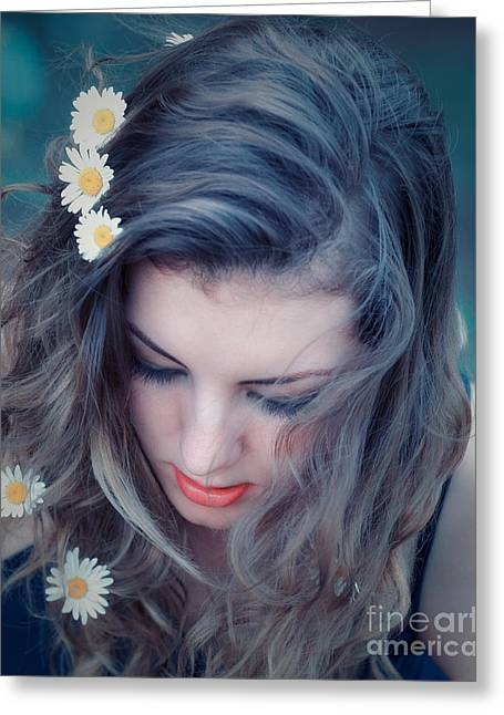 Girl Looking Down Greeting Cards - Young woman with flowers in her hair Greeting Card by Gabriela Insuratelu
