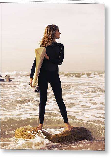 Tarifa Greeting Cards - Young Woman With Her Surfboard Tarifa Greeting Card by Ben Welsh