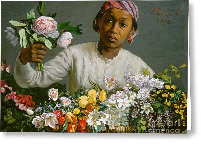 Bandana Greeting Cards - Young Woman with Peonies Greeting Card by Jean Frederic Bazille